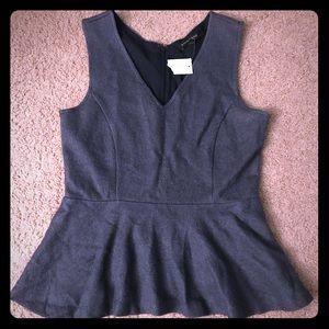 Banana Republic Blue/Gray Peplum Wool Top, Sz 2